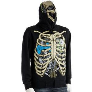 NEW NWT Mens Gamer Skeleton Hoodie Sweatshirt L