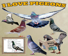 I Love Pigeons Computor Mouse Mat Top Design. Limited Edition Personalised FOC