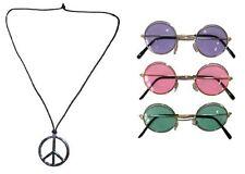 Hippie Zubehör Halskette Peace und Lennon Brille im Set, 3 farben zur Auswahl