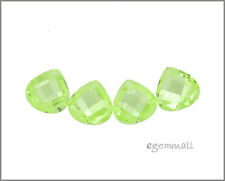 6 CZ Flat Pear Briolette Beads 8x8mm Apple Green #64606