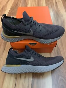 NIKE Epic React Flyknit Lightweight Running Shoes Men's Size 10 Gray Pewter Gold