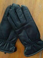 Black leather gloves fleece lining size large