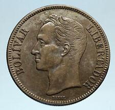 1936 Freemason President Simon Bolivar VENEZUELA Founder Silver 1B Coin i82988