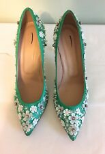 J Crew Collection Flowered Satin Heel Size 7 Green with White Flowers