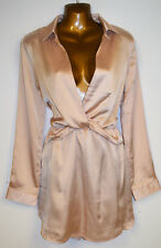 Size 8 Pretty Little Thing Nude Twist Front Silky Shirt Dress