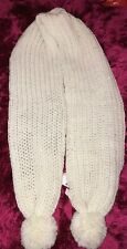 Boohoo Chunk Knit Pom Pom Scarf In Cream In One Size In Brand New Condition