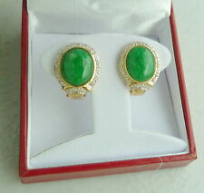 14K YELLOW GOLD OVAL CUT CABOCHON JADE AND DIAMOND EARRINGS