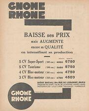 Y9852 Moto GNOME RHONE - Listino Prezzi - Pubblicità d'epoca - 1930 Old advert