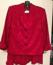 POSITIVE ATTITUDE DRESSY FLARED RED SKIRT SUIT - SIZE 12P