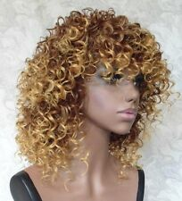 Short Brown Blonde Ombre Curly Afro High Heat Ok Full Synthetic Wig Wigs - 707