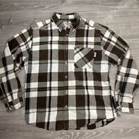 Woolrich Men's Brown Plaid Flannel Long Sleeve Button Up Shirt Size Large
