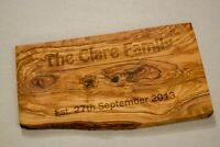 Large Rustic Olive Wood Kitchen Board - Personalised and Engraved - Wall Art
