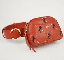 Chloe Earthy Red Leather Studded Belt Bag with Embroidered Horses CHC19SS565A566