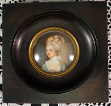 Miniature Portrait Painting Lady Dark Wood Frame with Convex Glass Signed #1