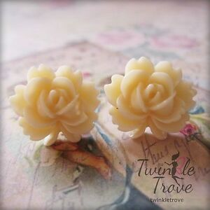 Carved Floral Vintage Inspired Stud / Clip- On Earrings. Many Color Options