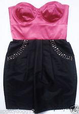 NEXT - BNWT BLACK & PINK STRAPLESS PARTY DRESS £50 - Sz 12