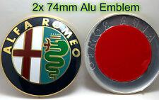 2x Satz ALU Alfa Romeo Vorne & Hinten 74mm Emblem Logo Mito Giulietta GTV 147