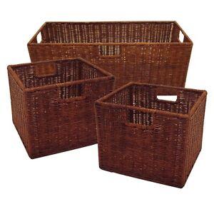 Winsome Wood Leo 3-Pc Wicker Basket Set, 1 Large, 2 Small, Walnut Rattan