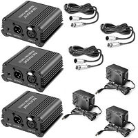 Neewer 3 Pack 1- Channel 48V Phantom Power Supply w/ Adapter and XLR Audio Cable