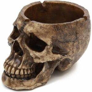 Spooky Central Resin Human Skull Ashtray for Halloween Decorations