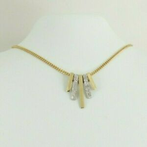 9ct Gold Chain Pendant Necklace White Yellow Hallmarked 5 grams 16.5'' Gift Box
