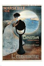 FRENCH vintage travel poster MARSEILLE view of ocean REFINED LADY 24X36 gem