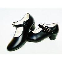 Zapatos de tacon negro de baile SEVILLANAS Y FLAMENCO Calzado de mujer adulta