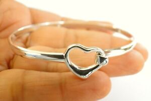 Love Heart No Stone Hinged Tension 925 Sterling Silver Bangle Bracelet Small