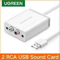 Ugreen USB External Stereo Sound Card Audio Adapter 3.5mm Aux 2RCA Converter PS4