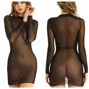 Women's Mesh Sheer Bikini Cover Up Dress Long Sleeve Club Wear Dresses Costume