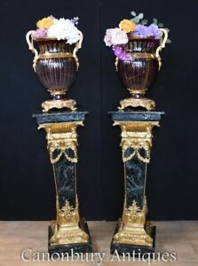 Pair Marble Pedestal Stands - French Empire Table Column Supports