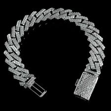 18K White Gold Plated Out Iced Lab Diamond Prong Set 14mm Cuban Link Bracelet