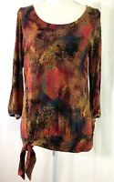 COLDWATER CREEK knit top MEDIUM multicolor side tie 3/4 sleeve rayon blend (J673