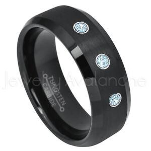 Semi-Dome Tungsten Ring, 0.21ctw Topaz 3-Stone Ring, November Birthstone #697