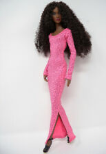 Pink Glitter Stretch Gown Handmade by KK Fits Fashion Royalty, FR2, NuFace