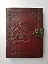 Genuine Embossed Dragon Pagan Wicca Handmade Leather Notebook & Writing Diary