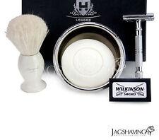 Shaving Set Silver Double Edge Safety Razor Natural Shaving Brush Arko Soap Bowl