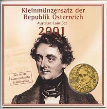 GN327 - Österreich Kursmünzensatz 2001 Hdgh KMS Mint Set Handgehoben