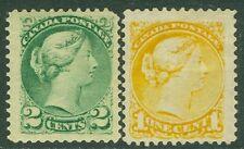 CANADA : 1872. Unitrade #35-36 Mint Original Gum Hinge Remnant. Catalog $160.00.