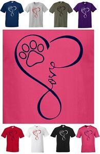 Lovely DOG T-shirt, Love / Heart  / Paw Print    Regular Cut T-shirt   S to 5XL