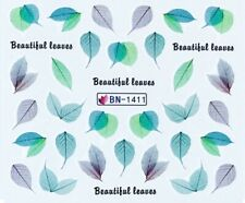 Nail Art Decals Transfers Stickers Green Beautiful Leaves (BN1411)