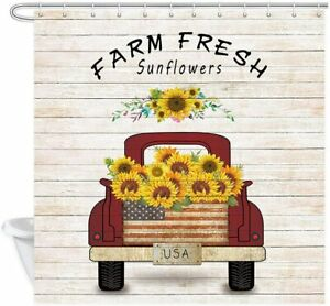 Farmhouse Red Truck Pull Sunflowers on Retro Wooden Fabric Shower Curtain
