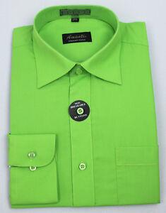 Mens Dress Shirt Neon Green Modern Fit Wrinkle-Free Cotton Blend Amanti NEW