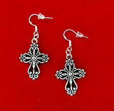 VINTAGE STYLE ANTIQUE SILVER CROSS EARRINGS~CHRISTMAS EASTER GIFT~STERLING HOOK