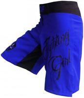 AQF Womens MMA Fitness Shorts Fight Vale Tudo Boxing bjj Ladies Blue Flexible