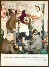 1964 US Brewers Fndn PRINT AD Enjoy Beer Thanksgiving Dinner John Gannam Art
