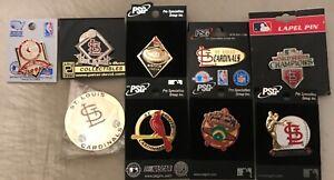 Set of 8 St Louis Cardinals Logo Collector Pins and Cardinals Logo Magnet