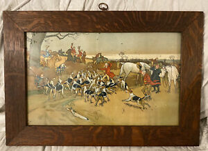 The Death Antique 1900 Cecil Aldin Fox Hunting Lithograph Print Framed 24X16