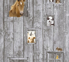 Kinder Vliestapete Bauernhof Tiere Holz grau braun 35842-1 Pferde Hunde Schafe