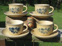 Pfaltzgraff Folk Art Cup Saucer Set X4 Lot of 8 pieces total USA Castle Mark mug